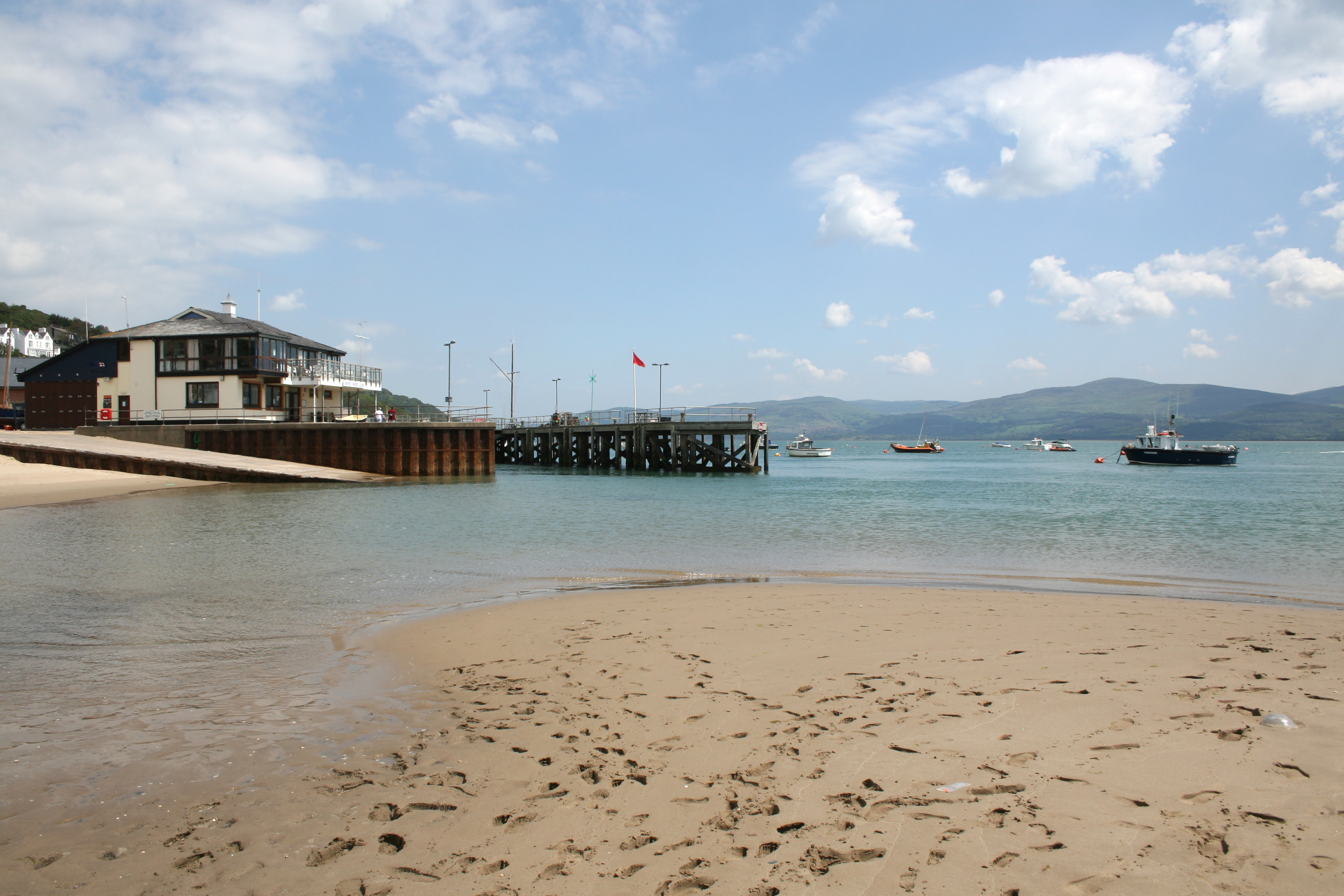 A view of Aberdovey pier from beach